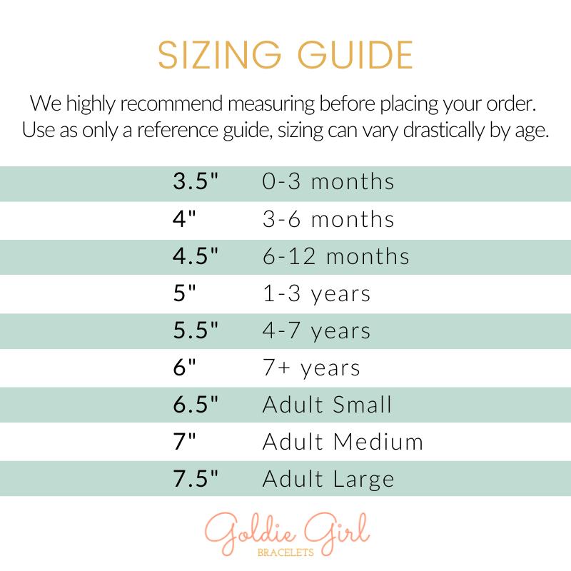 Goldie Girl Bracelet Sizing Guide